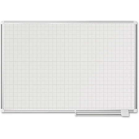 MasterVision 1x1 Grid Magnetic Gold Ultra Planning Brd - White, Silver - Aluminum, Lacquered Steel - Magnetic, Dry Erase Surface, Marker Tray, Pen Holder