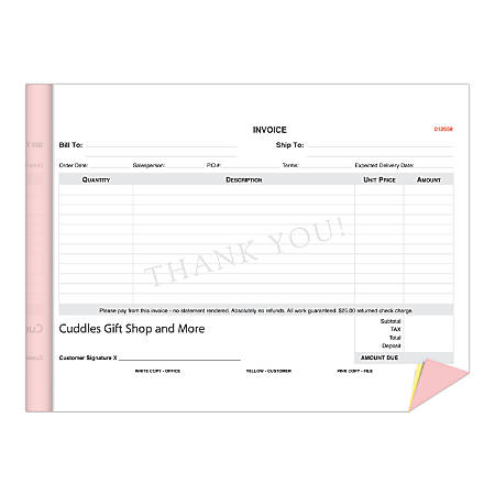 """Custom Carbonless Business Forms, Create Your Own, Booklet, One Color Ink, 8-1/2"""" x 5-1/2"""", 3-Part, Pack Of 5"""