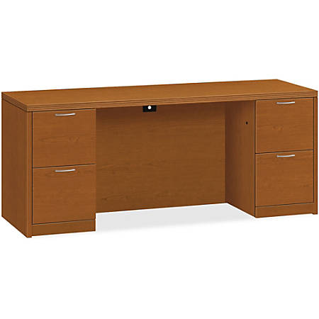 "HON Valido Double Pedestal Credenza 72""W - 72"" x 24"" x 29.5"" x 1.5"" - 4 x File Drawer(s) - Double Pedestal on Left/Right Side - Ribbon Edge - Material: Particleboard - Finish: Laminate, Bourbon Cherry"