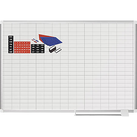 "MasterVision 2"" Grid Magnetic Gold Ultra Board Kit - White, Gold - Aluminum, Steel - Magnetic, Dry Erase Surface, Marker Tray"