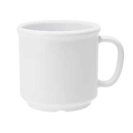 GET Enterprises Plastic Coffee Mugs, 12 Oz, White, Pack Of 24 Mugs
