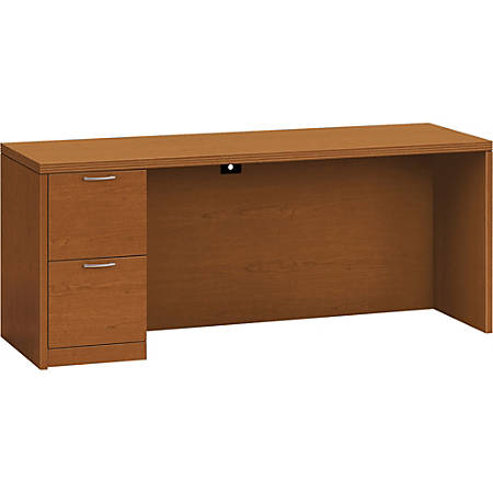 "HON Valido Left Pedestal Desk, 66""W - 72"" x 24"" x 29.5"" x 1.5"" - 2 x File Drawer(s) - Single Pedestal on Left Side - Ribbon Edge - Material: Particleboard - Finish: Laminate, Bourbon Cherry"