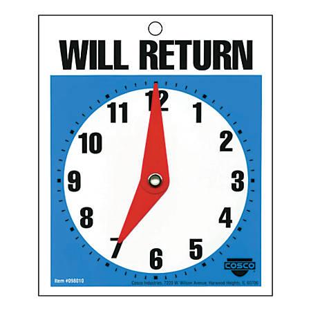 "Cosco® Will Return Clock Sign, 5"" X 6"", Blue/White"