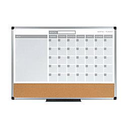 "MasterVision® 3-In-1 Magnetic Cork/Dry-Erase Calendar Planner Board, 18"" x 24"", Aluminum Frame"