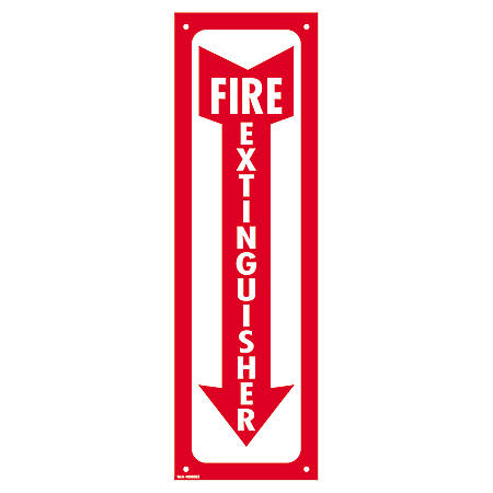 """Cosco Glow-In-The-Dark Fire Extinguisher Sign, 4"""" x 13"""", Red/White"""