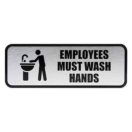 """Cosco® Brushed Metal """"Employees Must Wash Hands"""" Sign, 3"""" x 9"""", Silver"""