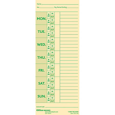 "Office Depot® Brand Time Cards With Deductions, Weekly, Monday–Sunday Format, 2-Sided, 3 3/8"" x 8 7/8"", Manila, Pack Of 100"