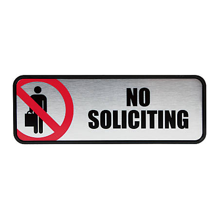 "Cosco® Brushed Metal ""No Soliciting"" Sign, 3"" x 9"""