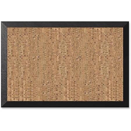 "MasterVision® Kamashi Cork Bulletin Board, 24"" x 36"", Black, Wood Frame"