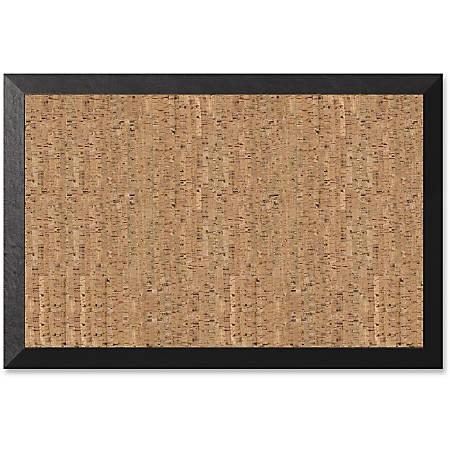 """MasterVision® Kamashi Cork Bulletin Board, 24"""" x 36"""", Black, Wood Frame"""
