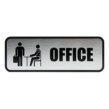 "Cosco® Brushed Metal ""Office"" Sign, 3"" x 9"""