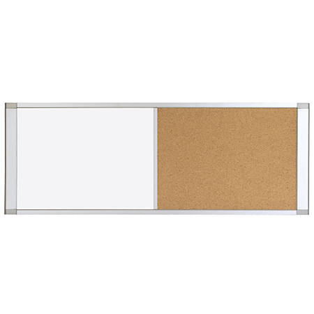 "MasterVision® Magnetic Dry-Erase/Cork Combination Cubicle Board, 18"" x 36"", Aluminum Frame"
