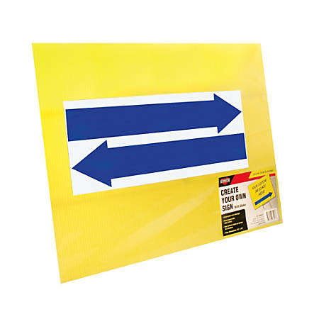 "Cosco® Large Blank Sign With Vinyl Blue Arrows And Stake, 19"" X 15"", Yellow"