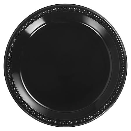 "Chinet® Heavyweight Round Plastic Plates, 10 1/4"", Black, 125 Plates Per Pack, Carton Of 4 Packs"