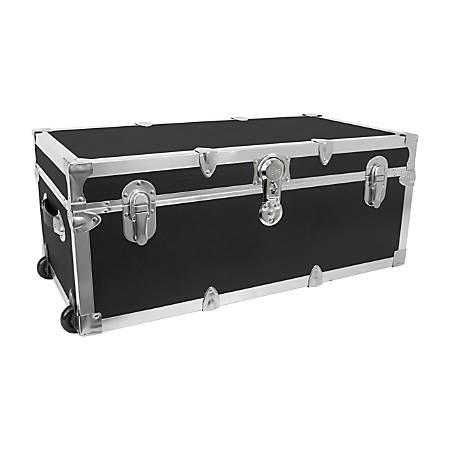 "Advantus Stackable Footlocker Trunk With Wheels, 15-3/4"" x 30"" x 12-1/4"", Black/Nickel"