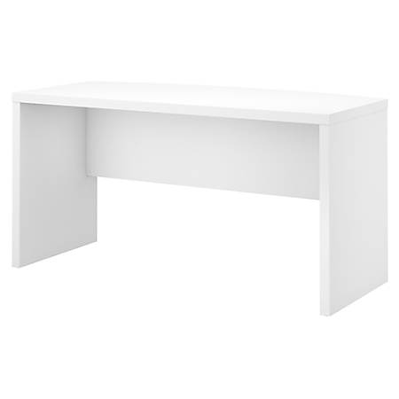 "kathy ireland® Office by Bush Business Furniture Echo 60""W Bow Front Desk, Pure White, Premium Installation"