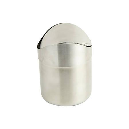 Mind Reader Oval Stainless-Steel Desktop Trash Collector, 0.4 Gallons, Silver