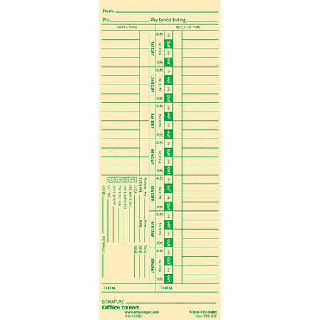 """Office Depot® Brand Time Cards With Deductions, Weekly, Days 1–7, 1-Sided, 3 3/8"""" x 8 7/8"""", Manila, Pack Of 100"""