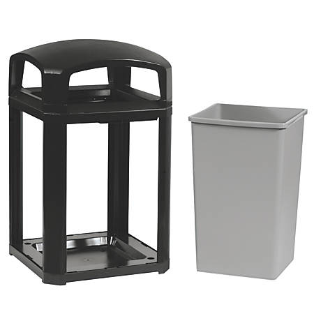 Rubbermaid® Commercial Landmark Series® Square Plastic Dome-Top Waste Container, With Ashtray, 35 Gallons, Sable