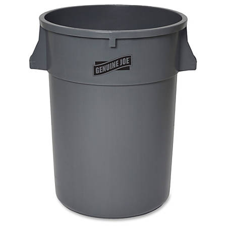 "Genuine Joe 44-gal Heavy-duty Trash Container - 44 gal Capacity - 24"" Height x 31.5"" Width x 24"" Depth - Gray"
