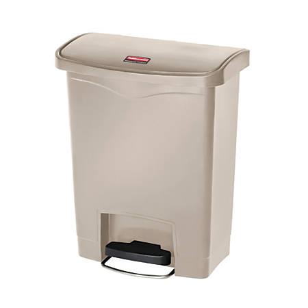 Rubbermaid® Slim Jim Rectangular Plastic Wastebasket, Step-On, 8 Gallons, Beige