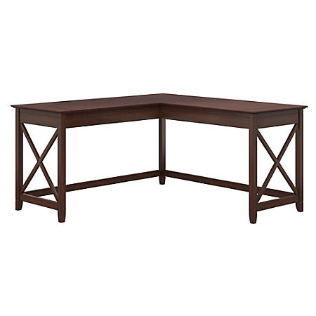 "Bush Furniture Key West 60""W L-Shaped Desk, Bing Cherry, Standard Delivery"