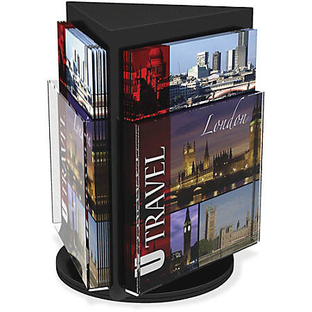 "Deflecto 3-Sided Rotating Countertop Display - 3 Pocket(s) - 3 Compartment(s) - 13"" Height x 10.3"" Width - Clear, Black Pocket, Base - 1Each"