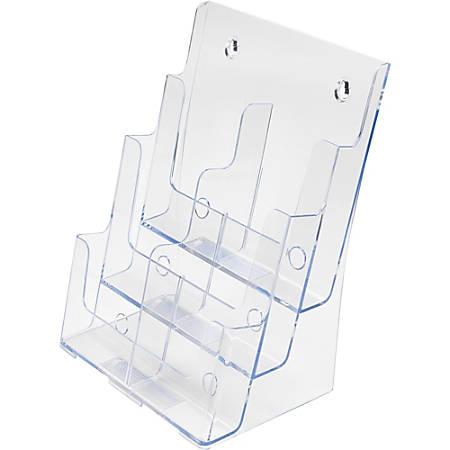 "deflecto 6-Leaflet Tiered Desktop Lit. Holder - 6 Pocket(s) - 3 Tier(s) - 13.8"" Height x 9"" Width x 7.5"" Depth - Desktop, Wall Mountable - Clear - Plastic - 1Each"