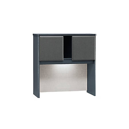 "Bush Business Furniture Office Advantage Hutch 36""W, Slate/Slate, Premium Installation"