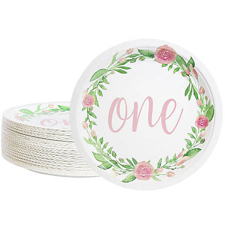Disposable Plates - 80-Count Paper Plates, 1st Birthday Party Supplies For Appetizer, Lunch, Dinner, And Dessert, Floral Design, 9 Inches In Diameter