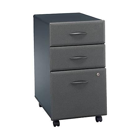 Bush Business Furniture Office Advantage 3 Drawer Mobile File Cabinet, Slate, Premium Installation