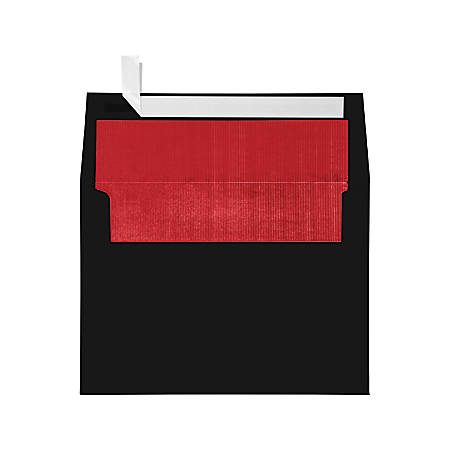 """LUX Invitation Envelopes With Peel & Press Closure, A7, 5 1/4"""" x 7 1/4"""", Black/Red, Pack Of 50"""