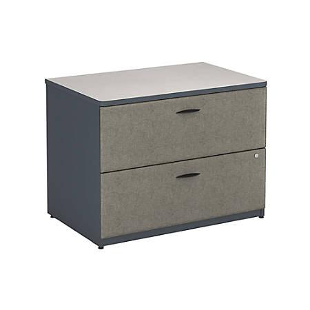 """Bush Business Furniture Office Advantage Lateral File Cabinet, 36""""W, Slate/White Spectrum, Premium Installation"""
