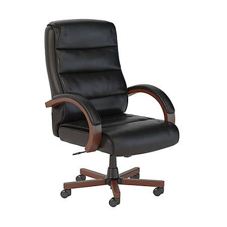 Bush Business Furniture Soft Sense High Back Leather Office Chair, Black, Premium Installation