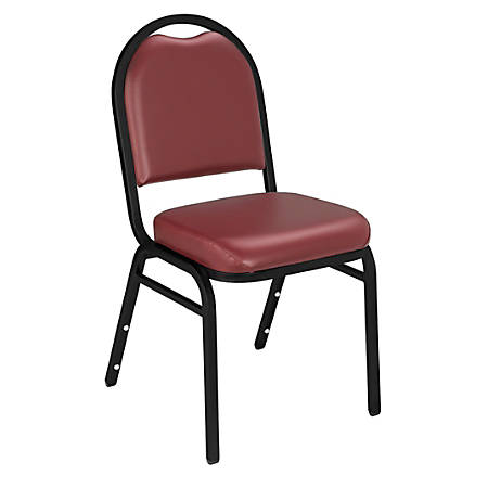 National Public Seating Dome-Back Stacking Chairs, Vinyl, Pleasant Burgundy/Black, Set Of 2