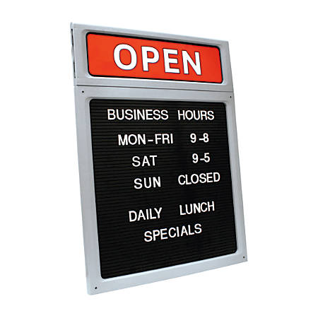 "Cosco® Upscale ""Open/Closed"" Letterboard Sign, 20 1/2""H x 15""W, Black/Red/White"