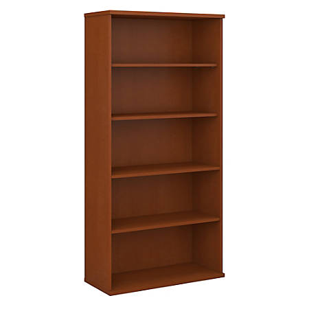 "Bush Business Furniture Components 5 Shelf Bookcase, 36""W, Auburn Maple, Premium Installation"