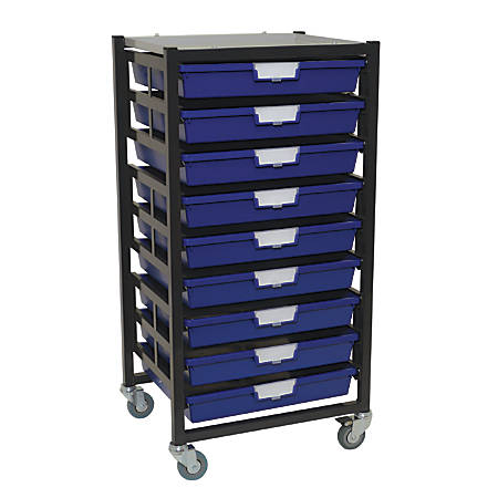 "Storsystem Extra Wide Mobile Metal Rack, 9 Extra Wide Single-Depth Trays, 40 3/4"" x 21 7/8"" x 17 7/8"", Dark Gray"