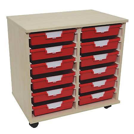 "Storsystem Standard Width Wood Storage Cabinet, 12 Single-Depth Trays, 27 3/8"" x 27 3/4"" x 18 3/4"", Pearwood"