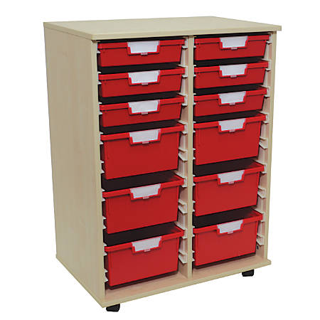 "Storsystem Standard Width Wood Storage Cabinet, 6 Single-Depth And 6 Double-Depth Trays, 38 3/4""H x 27 3/4"" x 18 3/4""D, Pearwood"