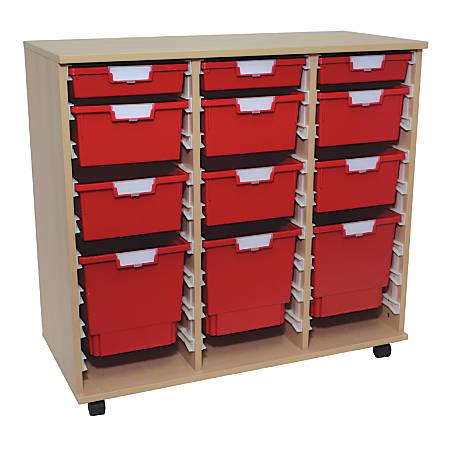 "Storsystem Standard Width Wood Storage Cabinet, Assorted Tray Sizes, 38 3/4"" x 41 3/8"" x 18 3/4"", Pearwood"