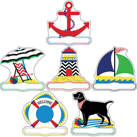 Barker Creek Accents, Double-Sided, Chevron Nautical, Pack Of 72