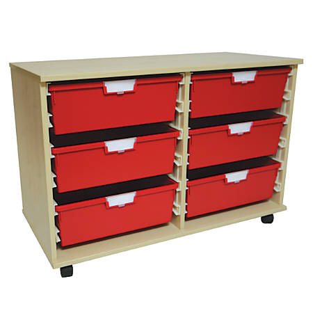 "Storsystem Extra Wide Wood Storage Cabinet, 6 Double-Depth Trays, 20 3/8""H x 40""W x 18 3/4""D, Pearwood"