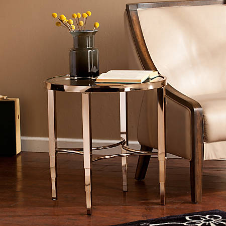 Southern Enterprises Thessaly End Table, Round, Metallic Gold