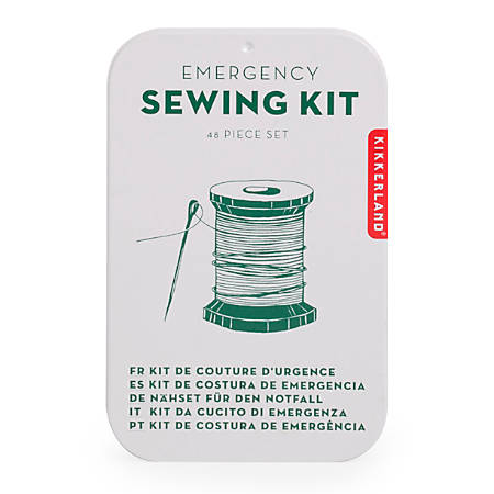 "Kikkerland Design Inc. Tin Emergency Sewing Kit, 3 3/4""H x 2 7/16""W x 1/16""D, Assorted Colors"