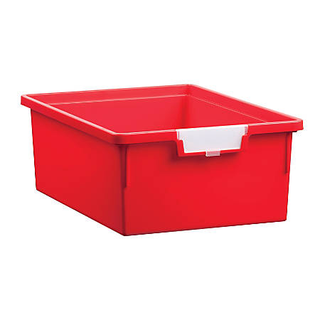 """Storsystem Standard Width Double-Depth Tote Tray, 21.2 Qt, 16 3/4"""" x 12 1/3"""" x 6"""", Primary Red"""