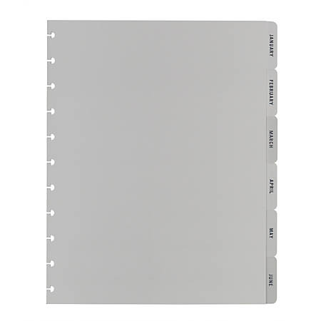 "TUL® Custom Note-Taking System Discbound Monthly Tab Dividers, 8-1/2"" x 11"", Gray, January to December, Pack of 12 Dividers"