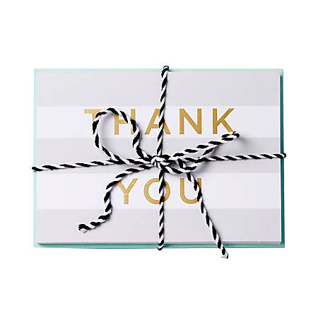 """Sincerely A Collection by C.R. Gibson® Baker's Twine Note Cards With Envelopes, 6"""" x 4 1/4"""", Gray Stripe, Blank Inside, Bag Of 8"""