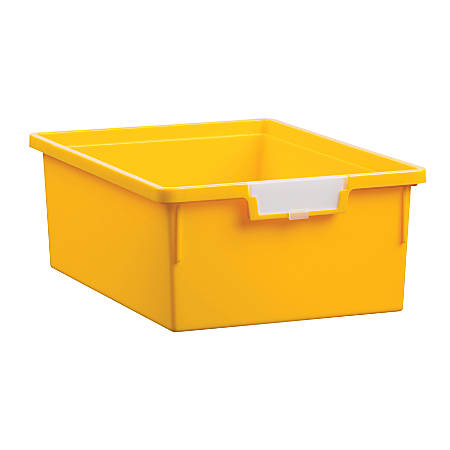 """Storsystem Standard Width Double-Depth Tote Tray, 21.2 Qt, 16 3/4"""" x 12 1/3"""" x 6"""", Primary Yellow"""