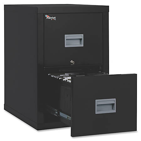 """FireKing® Patriot Series Vertical File Cabinet, 25""""D, 2 Drawers, Black, Dock To Dock Delivery"""